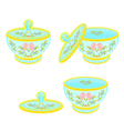 Sugar bowl with lid with floral pattern part tea vector image