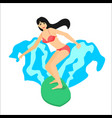 surfer woman riding on surfboard vector image vector image