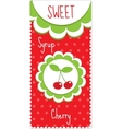 Sweet fruit labels for drinks syrup jam Cherry vector image
