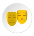 Theatrical masks icon flat style vector image vector image