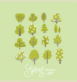 trendy flat trees and flowers set vector image vector image