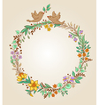 wreath of flowers leaves and birds vector image vector image