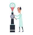 young scientists characters in laboratory doctor vector image