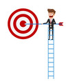 businessman climbing stair and holding arrow vector image