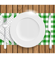 Clean plate with knife fork and napkin on wooden vector image