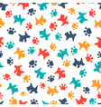 pattern with cartoon dog and paws vector image