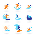 summer swimming surfing icons vector image