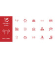 15 building icons vector image vector image