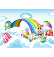 A king bunny at the sky with Easter eggs near the vector image vector image