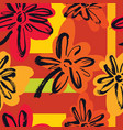 abstract pattern red and yellow flowers vector image