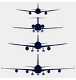 Airplanes silhouette front view vector image vector image