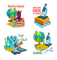 back to school icon with education supplies vector image vector image