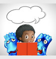 bubble speech template with girl and monsters vector image vector image
