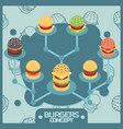 burgers color isometric concept icons vector image