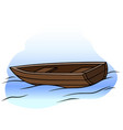 cartoon wooden rowboat on water vector image