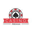 casino club isolated icon spades sign poker chip vector image vector image