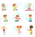 children playing with colorful soap bubbles vector image vector image