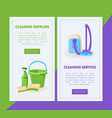 cleaning service and supplies landing page vector image vector image