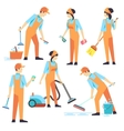 Cleaning staff in different positions vector image vector image