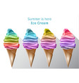 colorful ice cream cones summer sweet vector image