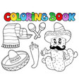 coloring book with mexican theme 2 vector image vector image