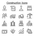 construction industrial icon set in thin line vector image
