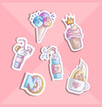 cute cartoon little princess icon set - sweets vector image vector image