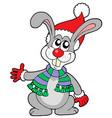 cute rabbit in christmas hat vector image