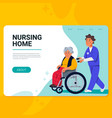 elderly woman in wheelchair and male nurse vector image vector image