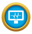 Electrocardiogram monitor icon blue