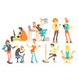 flat set of cartoon creative people vector image vector image