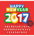 Funny sticker Happy New Year 2017 greeting card vector image vector image