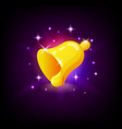 golden bell with sparkles slot icon for online vector image