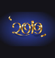 golden ribbon inscription happy new year 2019 on vector image vector image