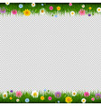 green grass with flowers frame transparent vector image