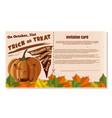 halloween invitation card design trick or treat vector image