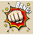 Hitting fist bang in pop art style vector image