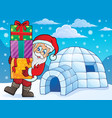 igloo with santa claus theme 1 vector image vector image