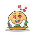 in love burger character fast food vector image vector image