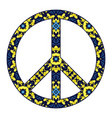 international peace symbol with flowers isolated vector image vector image