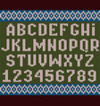 knitted alphabet christmas textured font to vector image