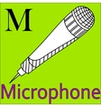 M letter alphabet Coloring microphone vector image vector image