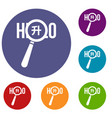 magnifying glass over hello word icons set vector image vector image