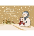 Mum the snowman cares of her child vector image vector image