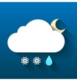 Night cloud snow flakes and rain drop isolated on vector image