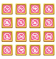 No insect sign icons pink vector image