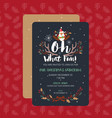 oh what fun christmas party invitation card vector image vector image