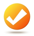 Orange circle shape internet button with check vector image