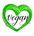 realistic green heart - eco bio vegan natural vector image