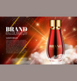 romantic cosmetic design red glass bottle perfume vector image vector image